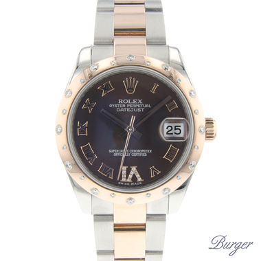 Rolex - Datejust 31 Steel / Everose Gold/ Diamonds Choco Dial