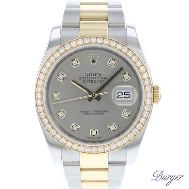 Rolex - Datejust 36 Gold/Steel Diamond Dial Diamond Bezel