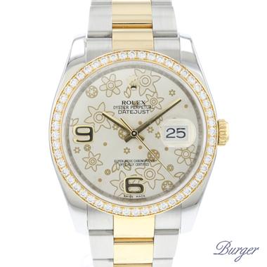 Rolex - Datejust 36 Gold/Steel Flower Dial Diamond Bezel