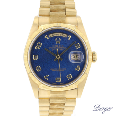 Rolex - Day-Date 36 President Bark Yellow Gold blue Logo Dial
