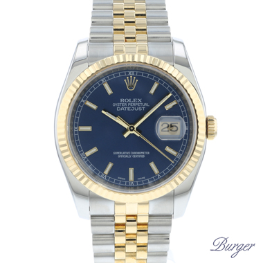 Rolex - Datejust 36 Steel Gold / Fluted / Jubilee Blue Dial