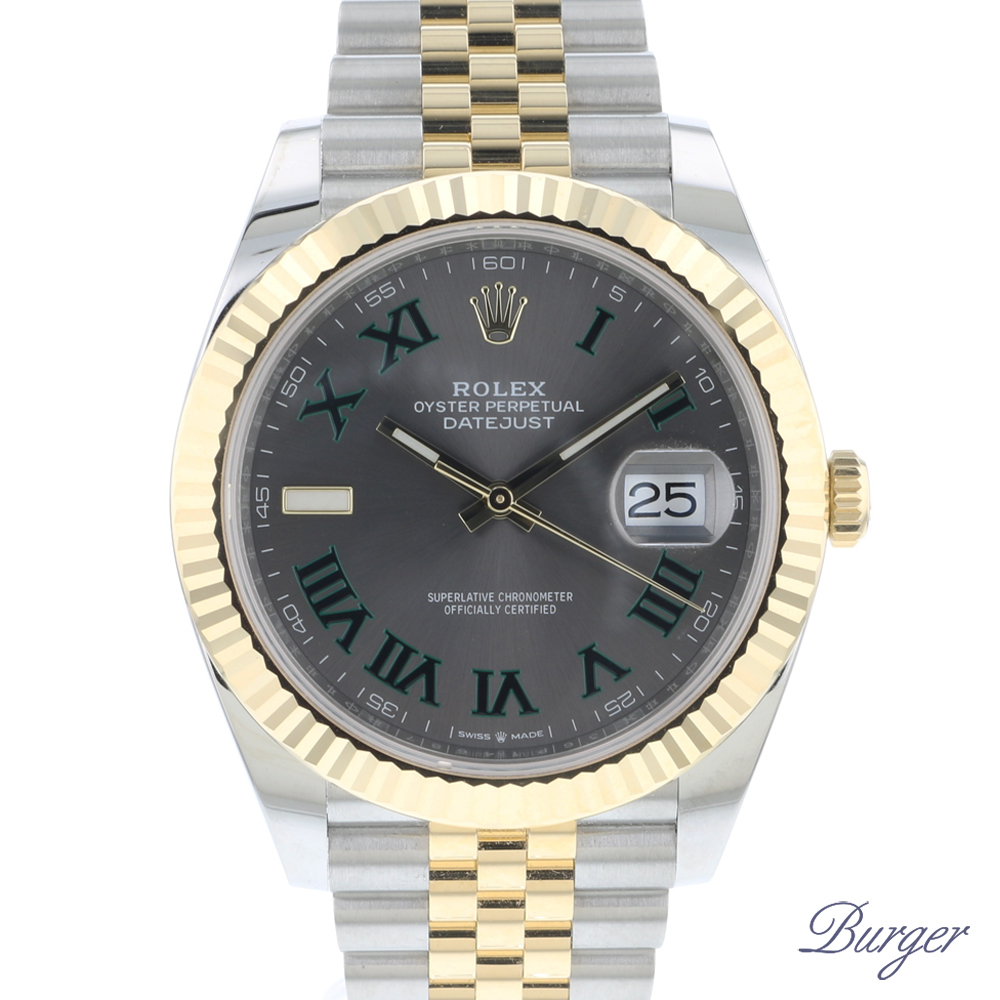Datejust 41 Steel / Gold / Fluted / Jubilee Wimbledon Dial NEW!