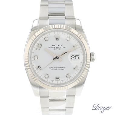 Rolex - Oyster Perpetual Date 34 Fluted With Diamonds