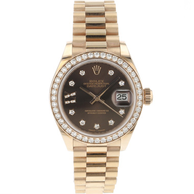 Rolex - Datejust 28 Everose Diamond President NEW!