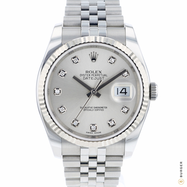 Rolex - Datejust 36 Fluted Jubilee Silver Diamond Dial