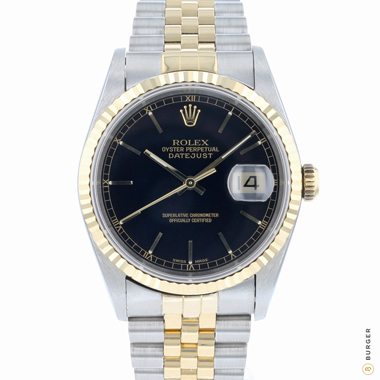 Rolex - Datejust 36 Steel/Gold Jubilee Fluted Black Dial