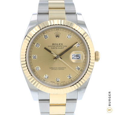 Rolex - Datejust 41 Gold/Steel Fluted Champagne Diamond Dial NEW!