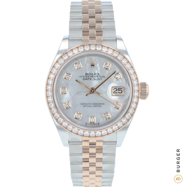 Rolex - Datejust 28 Lady Steel / Everose Gold Diamonds MOP Dial NEW!