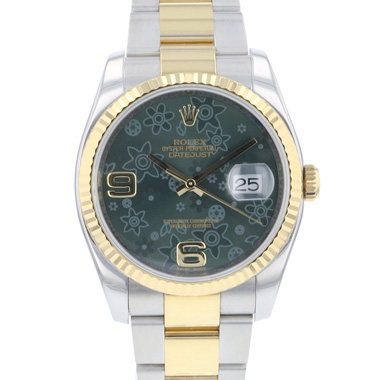 Rolex - Datejust 36 Steel /Gold Fluted Green Flower Dial