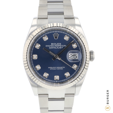 Rolex - Datejust 36 Fluted Blue Diamond Dial 126234 NEW!