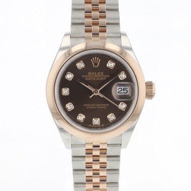 Rolex - Datejust Lady 28 Steel Everose Gold Choco Diamond Dial NEW