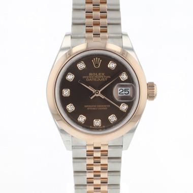Rolex - Datejust Lady 28 Steel Everose Gold Choco Diamond Dial NEW!