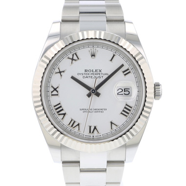 Rolex - Datejust 41 Fluted White Roman Dial
