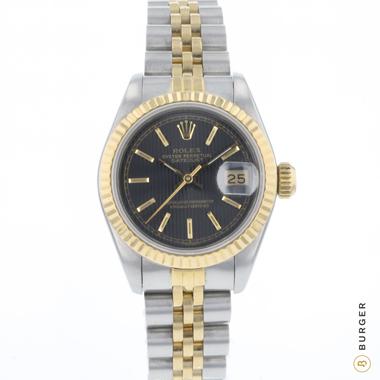 Rolex - Datejust 26 Gold/Steel Jubilee Black Tapestry Dial