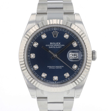 Rolex - Datejust 41 Fluted Blue Diamond Dial NEW!