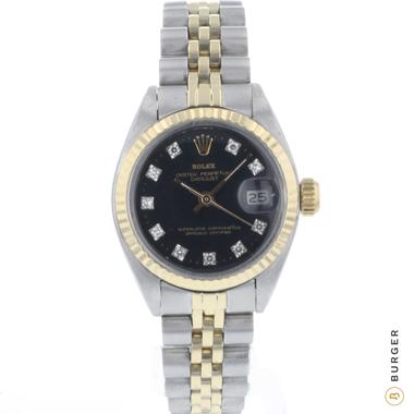 Rolex - Datejust 26 Gold/Steel Black Diamond Dial
