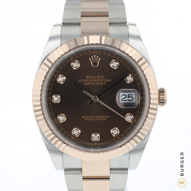 Rolex - Datejust 41 Steel / Everose Gold Fluted Chocolate Diamond Dial NEW!