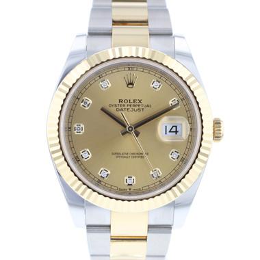 Rolex - Datejust 41 Gold/Steel Fluted Diamond Dial NEW!