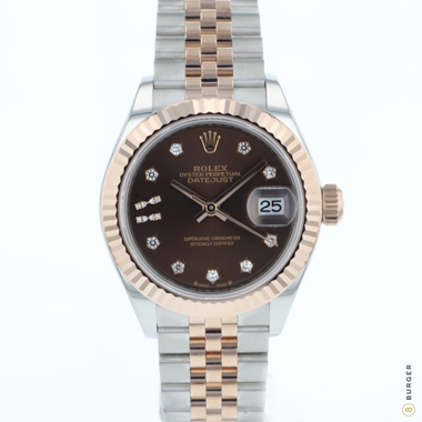 Rolex - Datejust Lady 28 Steel Everose Gold Fluted Choco Diamond dial NEW!