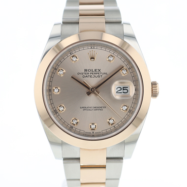 Rolex - Datejust 41 Steel / Everose Gold Diamond Dial NEW
