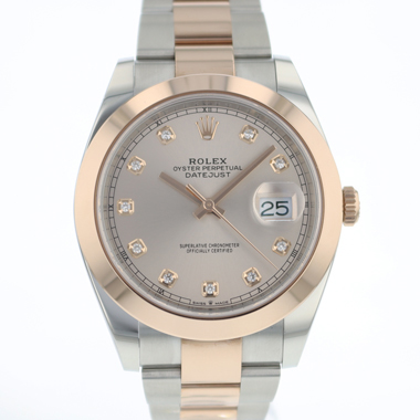 Rolex - Datejust 41 Steel / Everose Gold  Diamond Dial NEW !!