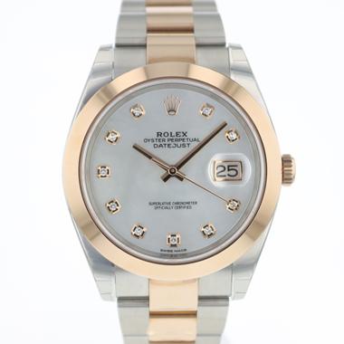 Rolex - Datejust 41 Steel/Everose Gold MOP Dial Diamonds NEW