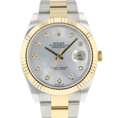Rolex - Datejust 41 Gold/Steel Fluted MOP Diamond Dial NEW!