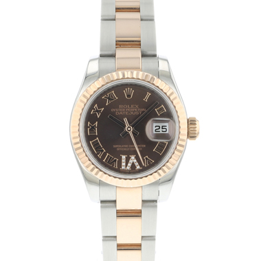 Rolex - Datejust Lady 26 Steel Everose Gold Fluted Brown Diamond Dial