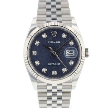 Rolex - Datejust 36 Fluted Jubilee Blue Diamond Logo Dial NEW!!