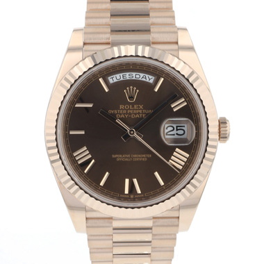 Rolex - Day-Date 40mm Everose Gold Chocolate Dial NEW