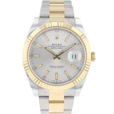 Rolex - Datejust 41 Gold/Steel Fluted Silver Dial NEW
