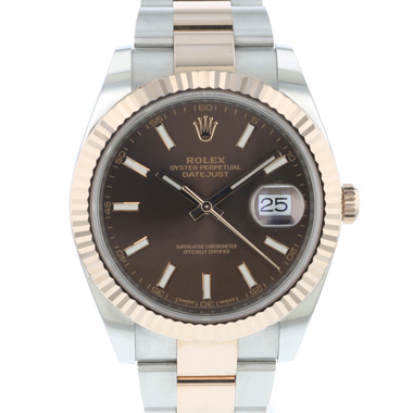 Rolex - Datejust 41 Steel / Everose Gold Fluted Chocolate Dial NEW