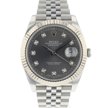 Rolex - Datejust 41 Fluted Jubilee Dark Rhodium Diamonds