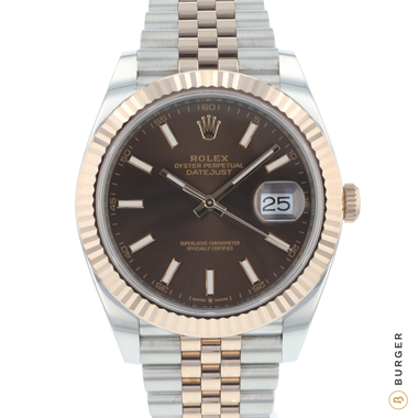 Rolex - Datejust 41 Steel / Everose Gold Fluted Jubilee Chocolate Dial  NEW!