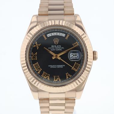 Rolex - Day-Date II Rose Gold Black Roman Dial