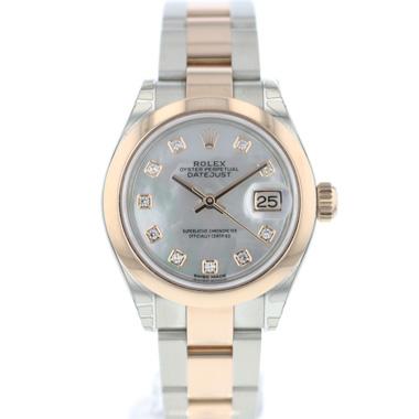 Rolex - Datejust. Lady 28 Steel Everose Gold MOP Diamond Dial NEW