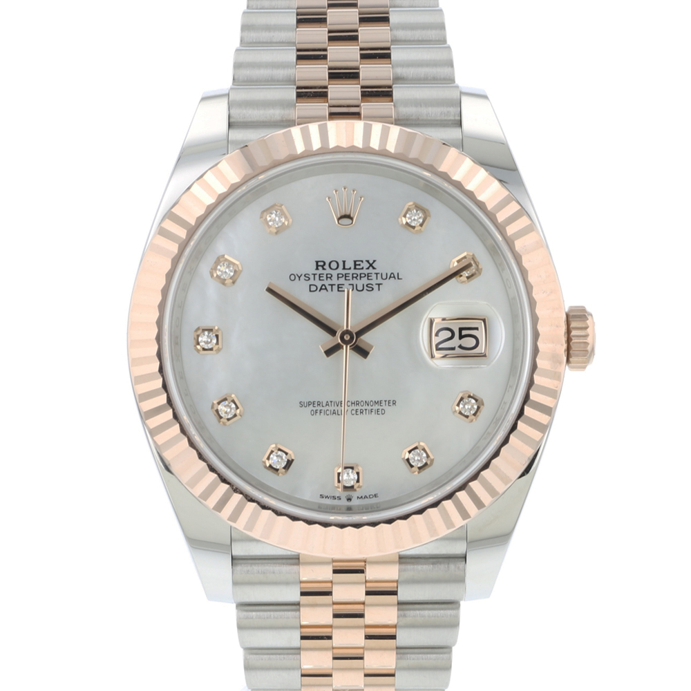 Rolex - Datejust 41 Steel/Everose Gold Fluted Jubilee Diamond MOP Dial NEW