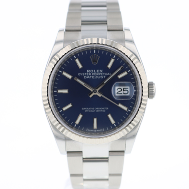 Rolex - Datejust 36 Fluted Oyster Blue Dial 126234 NEW
