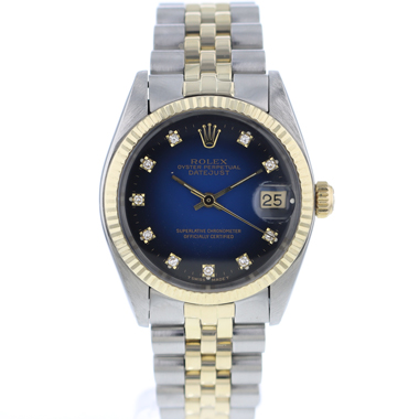 Rolex - Datejust 31 Midsize Gold/Steel Jubilee Diamond blue Vignette Dial