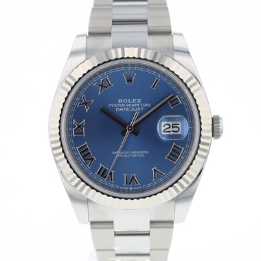 Rolex - Datejust 41 Fluted Oyster Azzuro Blue Roman Dial NEW