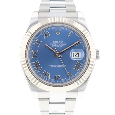 Rolex - Datejust II Fluted Blue Dial Roman
