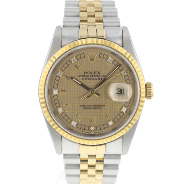 Rolex - Datejust 36 Steel/Gold jubilee Diamond Houndstooth Dial