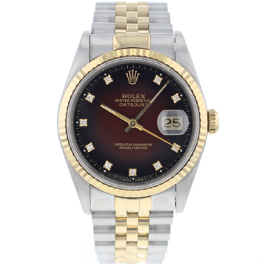Rolex - Datejust 36 Steel/Gold jubilee Dark Brown Diamond Dial