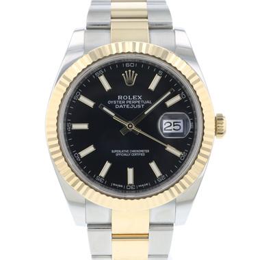 Rolex - Datejust 41 Steel / Gold / Fluted / Black Oyster
