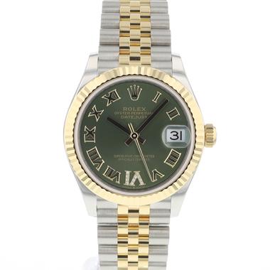 Rolex - Datejust 31 Steel Gold / Jubilee / Olive Diamond Dial NEW