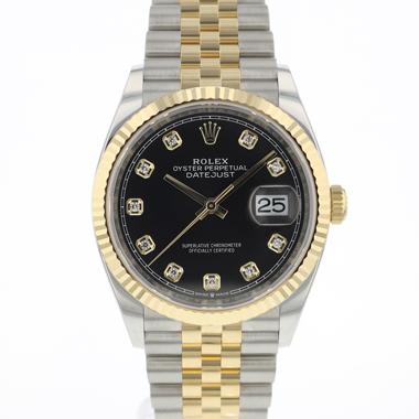 Rolex - Datejust 36 Steel Gold / Fluted / Jubilee Black Diamond Dial