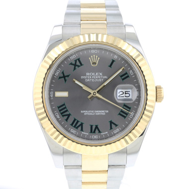 Rolex - Datejust II Gold/Steel Fluted Wimbledon Dial