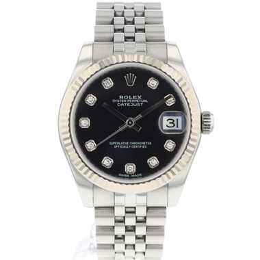 Rolex - Datejust 31 Midsize Jubilee/Fluted Black Diamond Dial