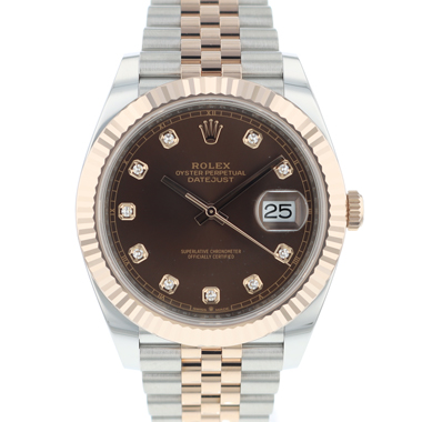 Rolex - Datejust 41 Steel / Everose Gold Jubilee/Fluted Chocolate Diamond Dial NEW