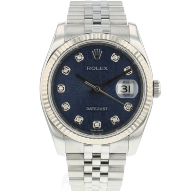 Rolex - Datejust 36 Fluted Jubilee Blue Logo Diamond Dial